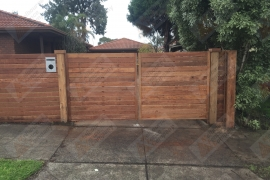 Merbau front fence gates double (Front)