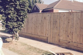2.1m Fence with inbuilt gate Capped