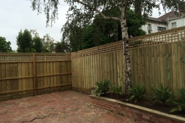 2.5m Timber fence with lattice and double sleeper Internal